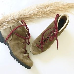 Vintage Suede Leather Hiking Boots